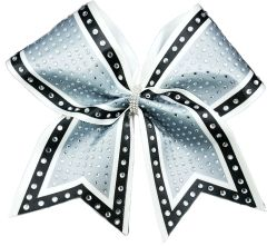 The Molly Silver black white Rhinestone Cheer Bow