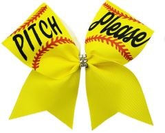 Pitch Please Softball Cheer Bow