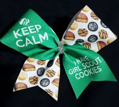 Keep Calm I Have Girl Scout Cookies Cheer Bow
