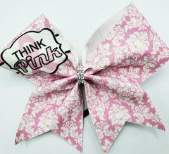Think Pink Glitter Vinyl Cheer Bow