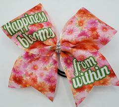 Happiness Blooms from Within Glitter Ribbon Cheer Bow