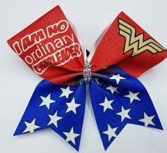I am No Ordinary Cheerleader Wonder Woman Cheer Bow