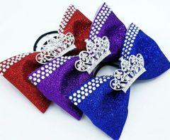 Glitter Rhinestone Tiara Tailless Cheer Bow - All Colors