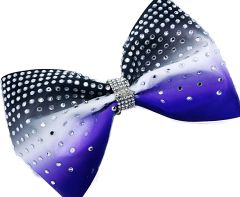 The Paige Satin & Rhinestone Tailless Cheer Bow Black White Purple