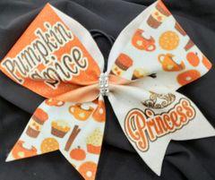 Pumpkin Spice Princess Glitter Vinyl Cheer Bow