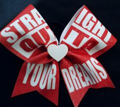 Straight Outta Your Dreams Glitter Cheer Bow