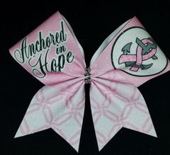 Anchored in Hope Breast Cancer Awareness Glitter Cheer Bow