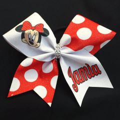 Minnie Mouse Red Name Cheer Bow