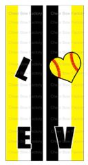 Love Softball Cheer Bow Ready to Press Sublimation Graphic