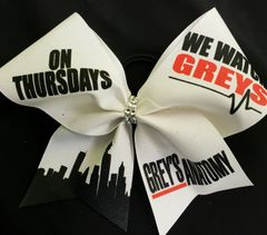 On Thursdays we watch Greys Anatomy Glitter Ribbon Cheer Bow