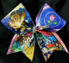 Beauty and The Beast Stained Glass Cheer Bow
