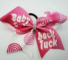 Baby Got Back Tuck Pink Glitter Vinyl Cheer Bow