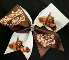 Let our Hearts be full of Thanks & Giving Glitter Vinyl Cheer Bow
