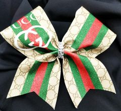 Gucci Inspired Glitter Cheer Bow