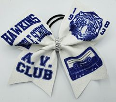 Stranger Things Hawkins Middle School Glitter Vinyl Cheer Bow