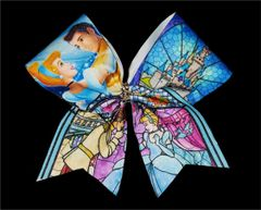 Cinderella Stained Glass Glitter Cheer Bow