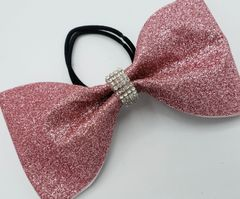 Rose Gold Glitter Tailless Cheer Bow