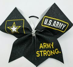 Army Strong Glitter Vinyl Cheer Bow