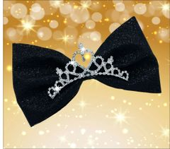 Royal Beauty Rhinestone Tiara Large Tailless Cheer Bow - Black Glitter
