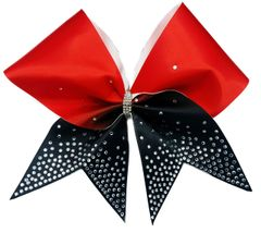 The Jessica Red Black Rhinestone Cheer Bow