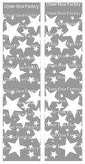 Stars Silver Cheer Bow Ready to Press Sublimation Graphic