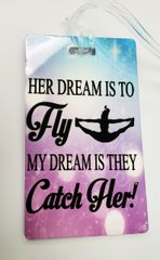 Her Dream is to Fly Bag Tag Cheer Bow