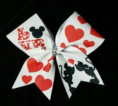 Mickey Minnie LOVE Glitter Cheer Bow