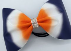 Navy / Orange Satin Ombre Tailless Cheer Bow