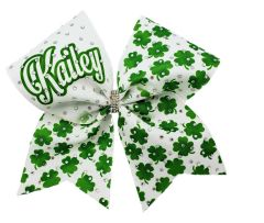 Personalized Four Leaf Clover Ribbon Rhinestone Cheer Bow
