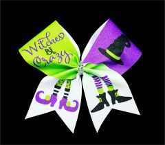 Witches Be Crazy Glitter Vinyl Cheer Bow