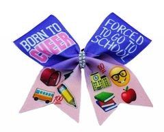 Born To Cheer Forced To Go To School Emoji Glitter Cheer Bow