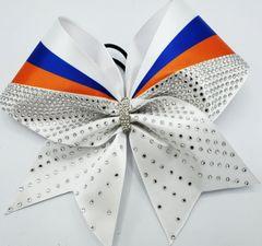 White Royal Orange Rhinestone Cheer Bow