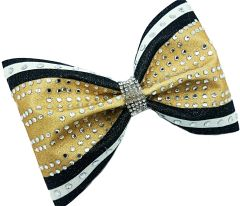 The Steph Glitter & Rhinestone Tailless Cheer Bow Gold Black White