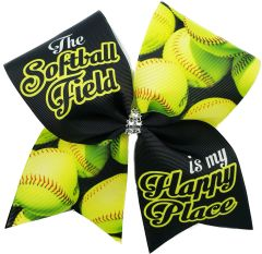 The Softball Field is my Happy Place Cheer Bow