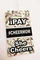 iPay she cheers #Cheermom Bag Tag Cheer Bow