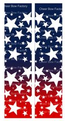 Stars Ombre Navy Red Cheer Bow Ready to Press Sublimation Graphic