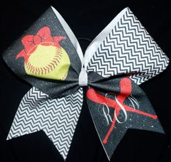 Baseball Monogram Cheer Bow
