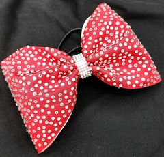 The Mikayla Matte Fabric Rhinestone Tailless Cheer Bow