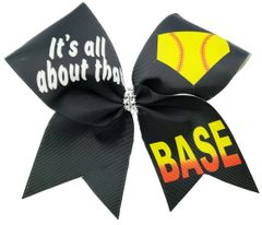 It's all about that Base Softball Cheer Bow