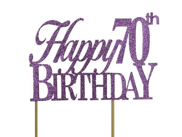 Purple Happy 70th Birthday Cake Topper