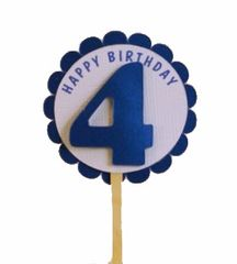 Shimmer Blue 4th Birthday Cupcake Toppers
