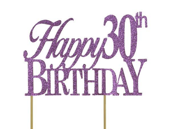 Purple Happy 30th Birthday Cake Topper