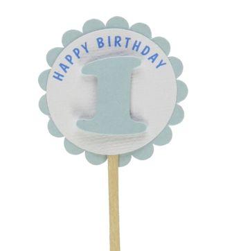 Shimmer Light Blue 1st Birthday Cupcake Toppers