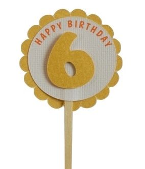 Shimmer Gold 6th Birthday Cupcake Toppers