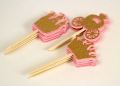 Shimmer Pink & Gold Princess Theme Cupcake Toppers