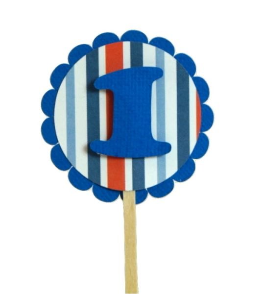 Blue & Stripes 1 Cupcake Toppers