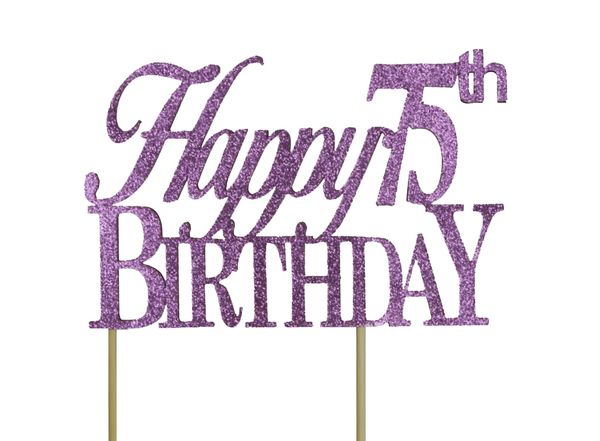 Purple Happy 75th Birthday Cake Topper
