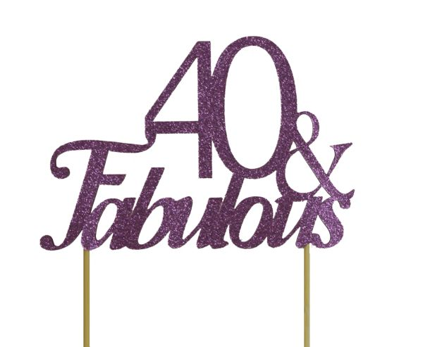 Purple 40 & Fabulous Cake Topper