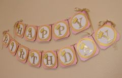 Shimmer Pink & Gold Princess Theme Happy Birthday Banner