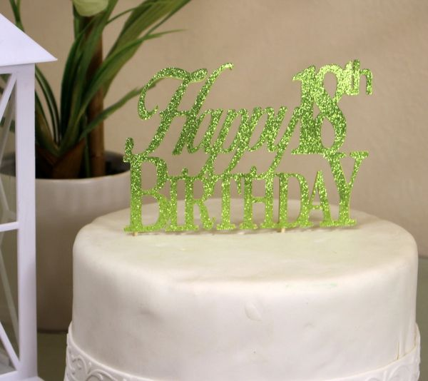 Lime Green Happy 18th Birthday Cake Topper